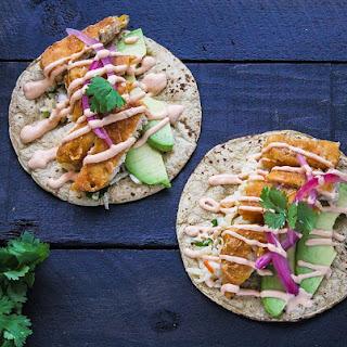 Vegan Baja Fish Tacos with Lime Cumin Slaw