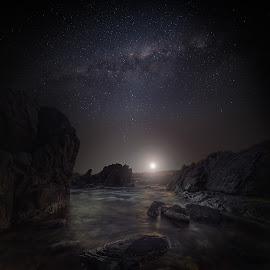Moonlight scape by Nicole Rix - Digital Art Places ( seascape, rocks, nights, milkyway, photoshop, water, digital art )
