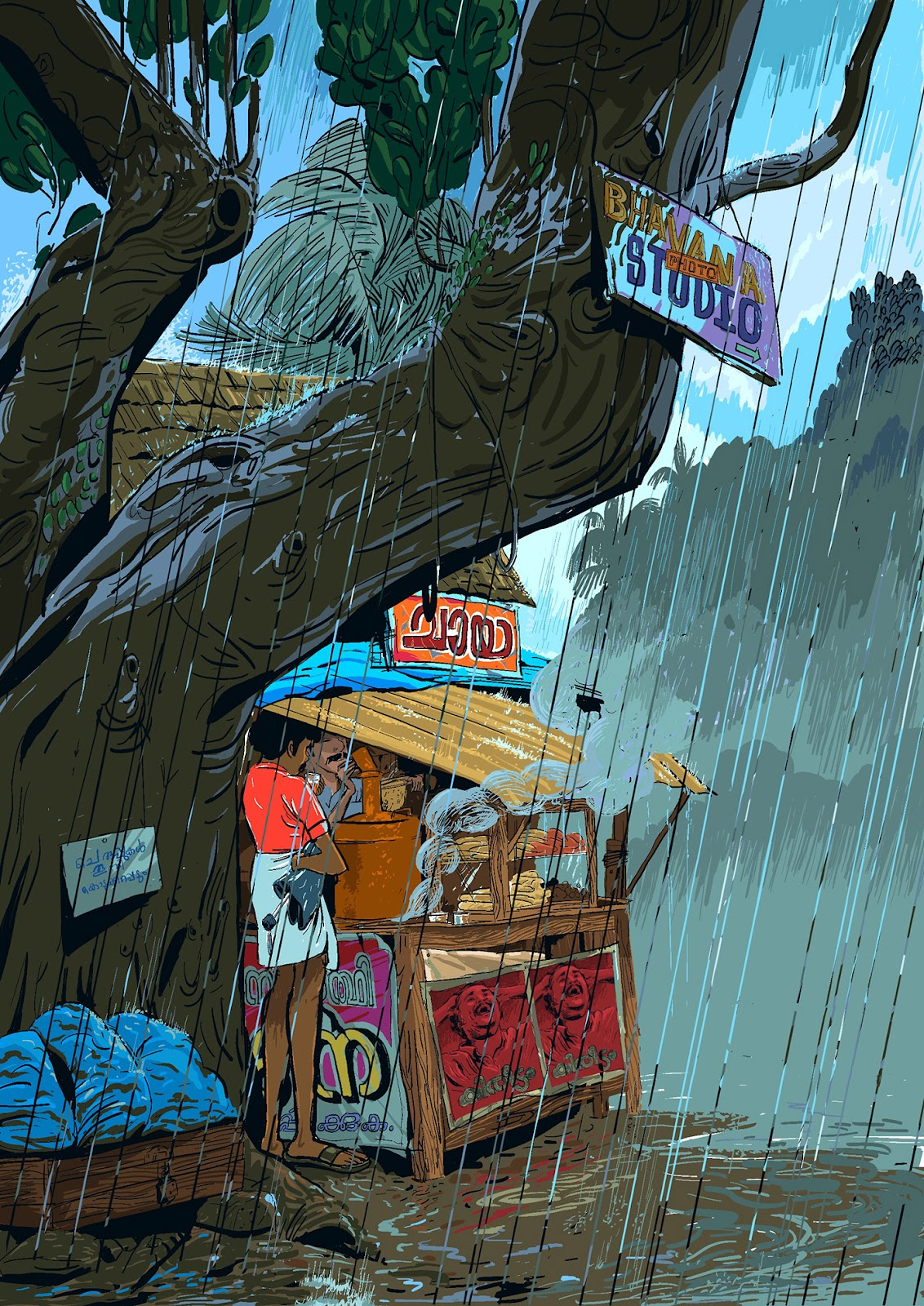 Rain and Life Illustrations by Vipin Das
