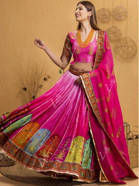 Pink Ombre Mughal Printed Lehenga Set