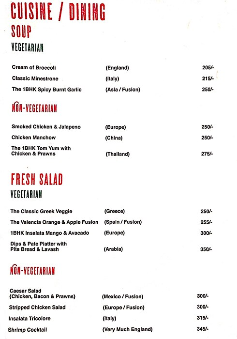 1BHK Superbar menu 1
