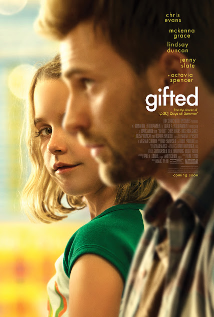 Gifted movie starring Chris Evans, McKenna Grace, Octavia Spencer, Lindsay Duncan, and Jenny Slate
