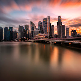 Glorious Skyline Over Shenton Way by Gordon Koh - City,  Street & Park  Skylines ( clouds, shenton way, reflection, cbd, skyline, skyscraper, sunset, vista, asia, long exposure, waterfront, jubilee bridge, singapore )