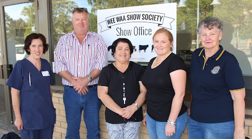 Wee Waa Show Society committee members Janelle Schwager, president Brett Dickinson, Anna Baird, Hannah Dickinson and Sue Toop at the show office at 71a Rose Street. The office will shift to the Showground on Thursday.