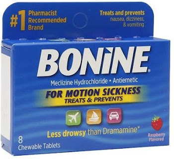 Bonine Motion Sickness Protection Chewable Tablets - Raspberry, 8 Pack