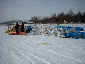 Photo: The Iditarod checkpoint with just some of the stuff hauled in.