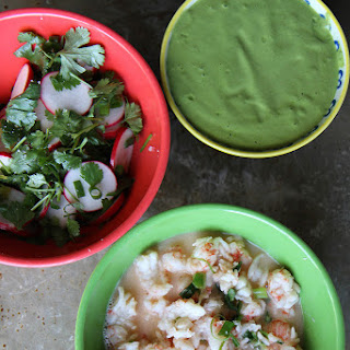Lobster Tacos with Green Onion Cilantro Sauce.