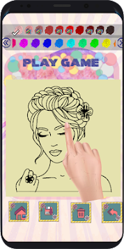 Beauty Hairstyle salon coloring book image