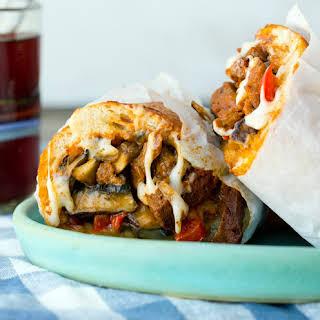 Vegan Mushroom Philly Cheese Sandwich.