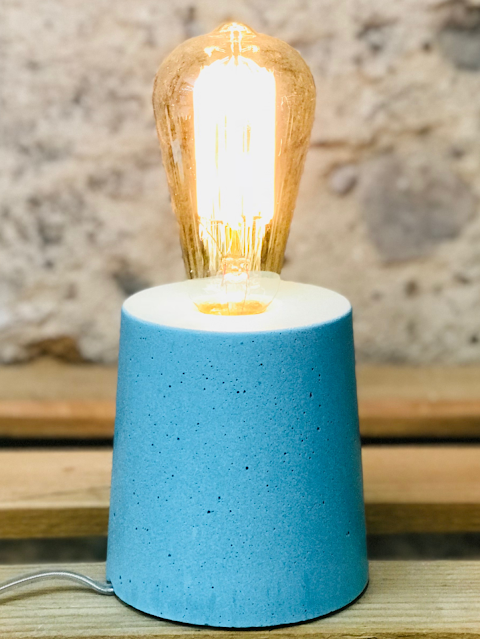 lampe béton couleur turquoise forme design cylindre