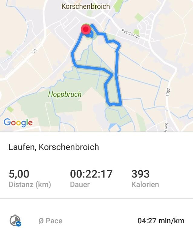 Korschenbroicher Waldlauf Runtastic