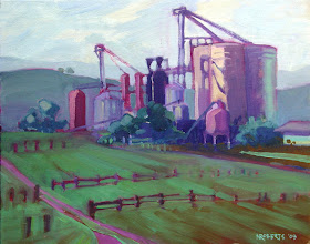 Photo: Balfour Silos, oil on canvas by Nancy Roberts, copyright 2014. Private collection.