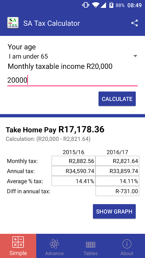 SA Tax Calculator- screenshot