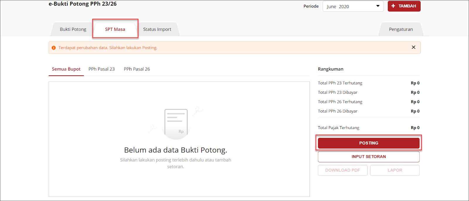Tampilan e-Bukti Potong PPh 23/26 OnlinePajak dan cara melakukan posting semua bupot ke dalam sistem Image