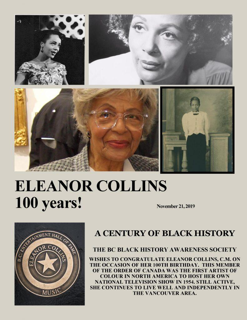 Congratulations to Eleanor Collins on her 100th birthday, November 21, 2019