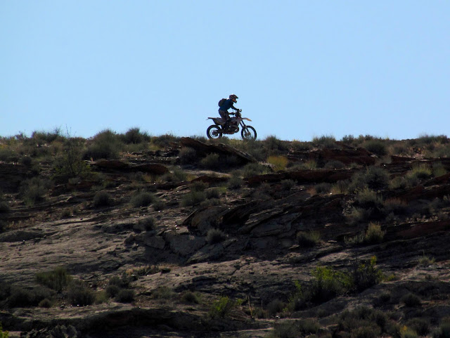 Dirt biker across from Bull Bottom
