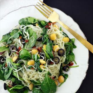 Low Carb Vegan Mediterranean Noodles & Lupini Beans (gluten free, low-FODMAP, soy free).