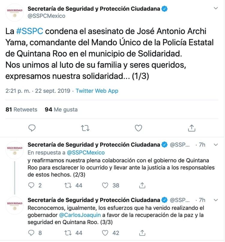 La SSPC lamentó el hecho en redes sociales (Foto: Twitter)