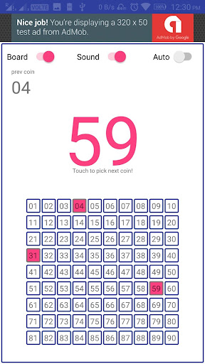 Coin Picker/caller for Tambola Housie Bingo by Xiphos Apps (Google