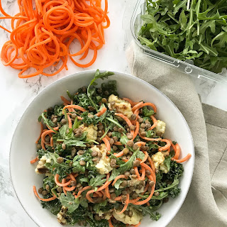 Roasted Cauliflower and Carrot Noodle Salad with Lentils.