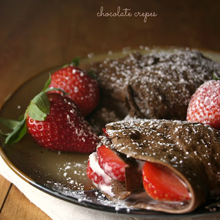 Chocolate Crepes with Strawberries and Cream Cheese