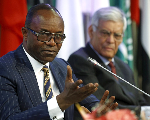 Nigeria's oil minister and Organisation of the Petroleum Exporting Countries president Emmanuel Ibe Kachikwu (left) and Opec secretary general Abdullah al-Badri address a news conference after the latest meeting of oil ministers in Vienna, Austria. Picture: REUTERS/HEINZ-PETER BADER