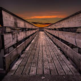 Bridge to eternity by Bent Velling - Buildings & Architecture Bridges & Suspended Structures ( water, ef17-40l, canon 6d, benro, wood, bridge, rocks, light, norway )