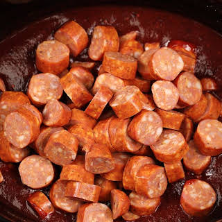 Slow cooker BBQ cocktail sausage.