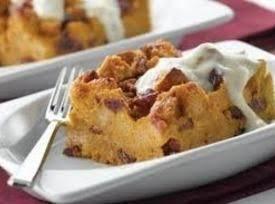 Pumpkin Bread Pudding W/ Brown Sugar Yogurt Sauce Recipe