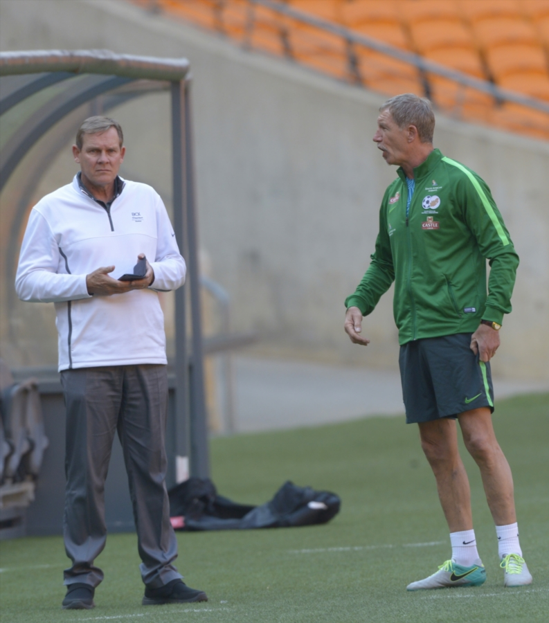 Coach Stuart Baxter of Bafana Bafana with Neil Tovey during the South African national soccer team training session at FNB Stadium on August 16, 2017 in Johannesburg, South Africa.