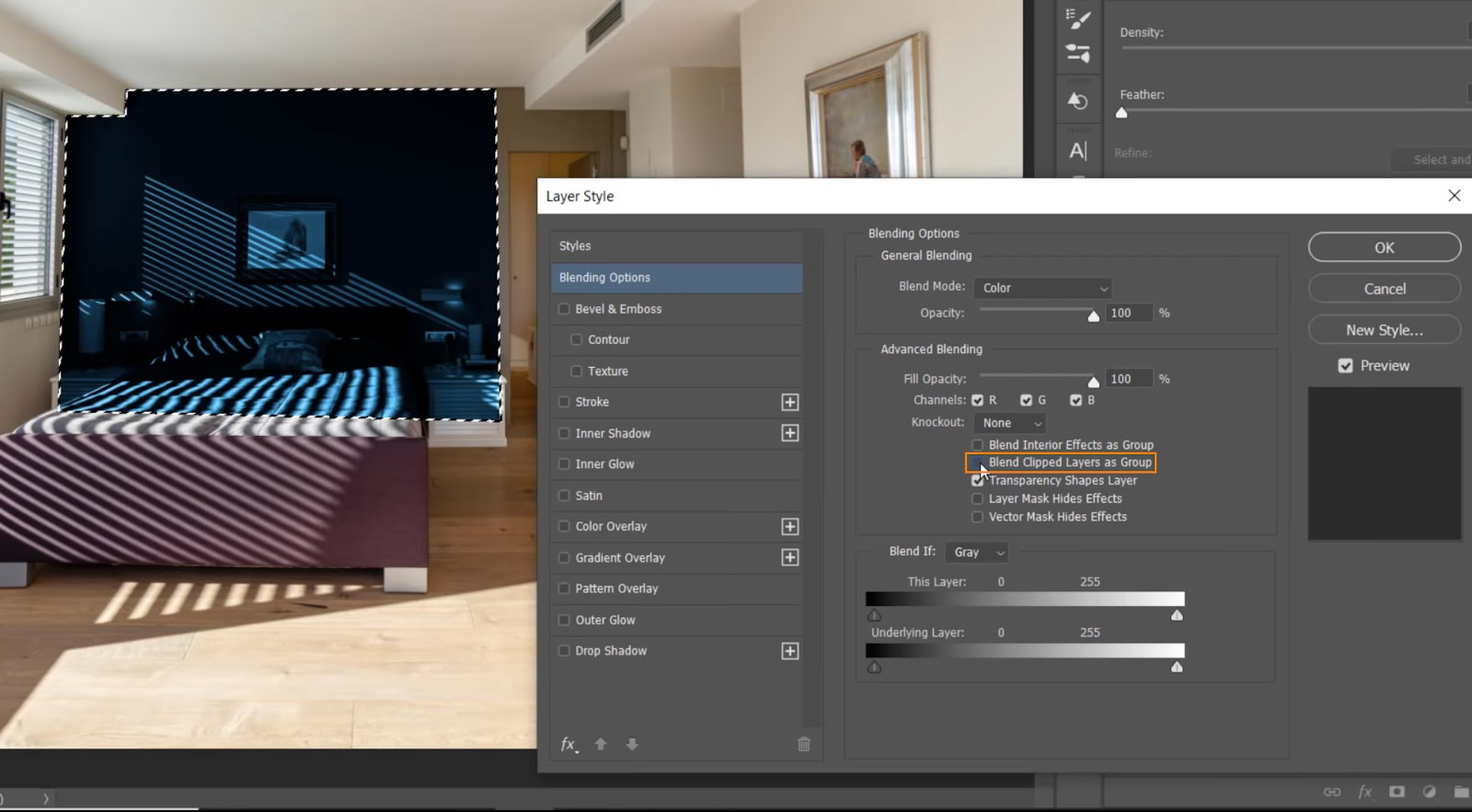 Uncheck the box for Blend Clipped Layers as Group