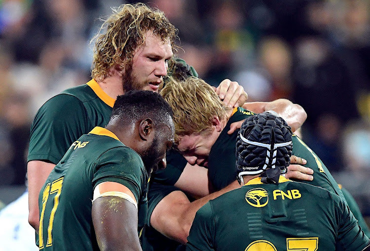 South Africa's Pieter-Steph du Toit celebrates with team mates beating the All Blacks at Wellington in New Zealand on September 15 2018. Picture: REUTERS/ROSS SETFORD