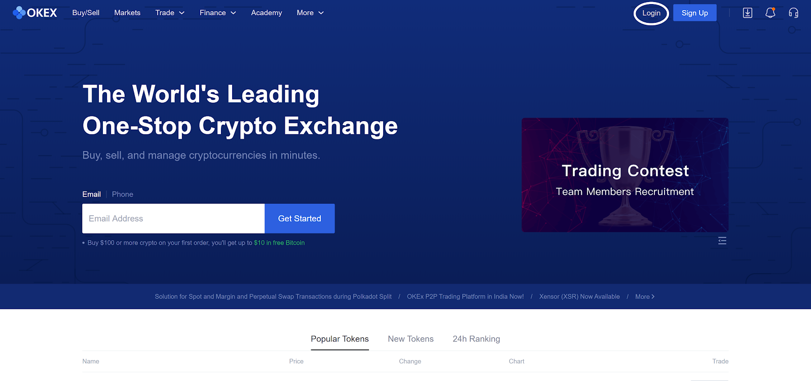 Buy Cryptocurrency or Sell Cryptocurrency on OKEX