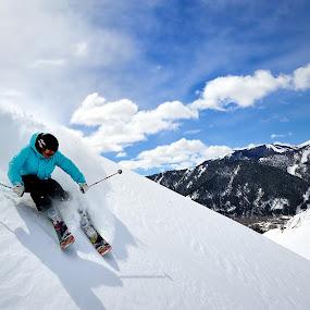 Skiing in Sun Valley, Idaho by Tory Taglio - Sports & Fitness Snow Sports ( baldy, pwcwintersports, ski resort, powder, ketchum, sun valley, skier )