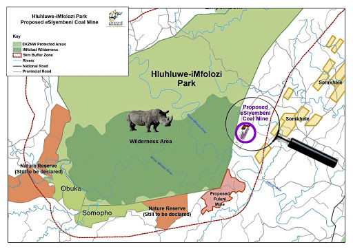 Opposition: A map of the Hluhluwe-iMfolozi Park indicating the site of the proposed eSiyembeni coal mine. Picture: SUPPLIED
