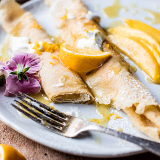 Meyer Lemon Chamomile Suzette Crepes with Greek Yogurt..