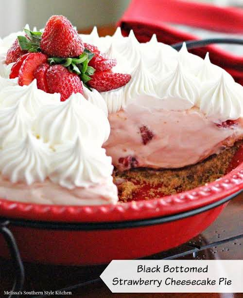 Click Here for Recipe: Black Bottomed Strawberry Cheesecake Pie With a layer...