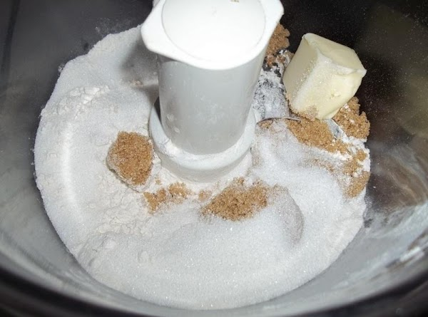 In my food processor I added the flour, sugars, butter and pulsed until it...