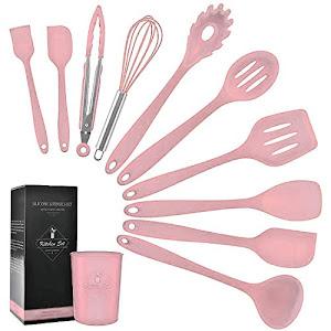 Set 11 ustensile din silicon, pentru gatit - Roz