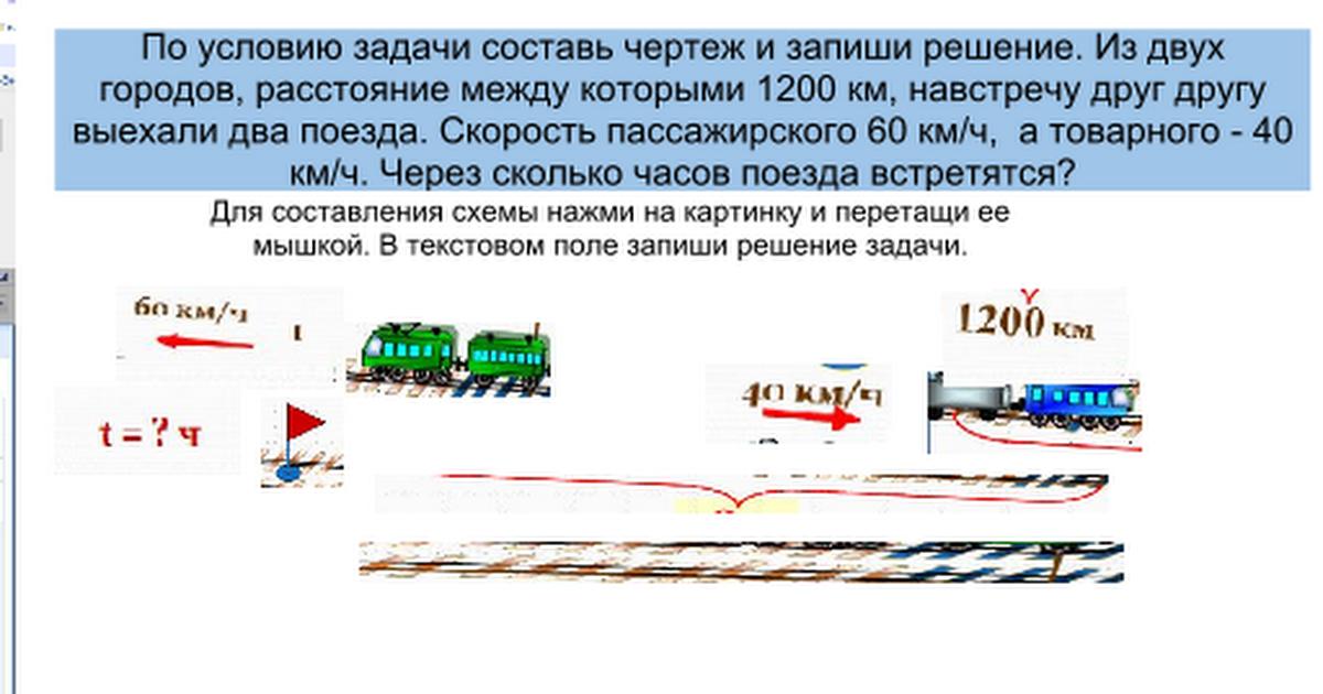 Решение задач когда два поезда встретятся решение задач i скорость растояния