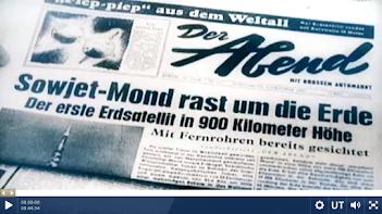 Zeitungsseite: «Sowjetmond rast um die Erde» (Bild aus Video).