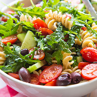 Easy Pasta Salad with Cucumbers & Tomatoes.