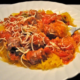 Spaghetti Squash with Olives and Duck Sausage.