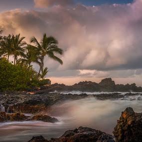 Pre-dawn Makena Bay by Andy Snider - Landscapes Beaches ( maui, blue hour, seascapes, sunrise, seascape, makena bay )