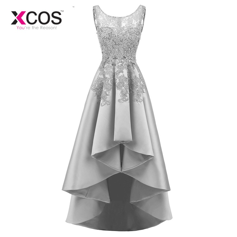 XCOS New Banquet Elegant Grey Satin Evening Dress High low Short ...