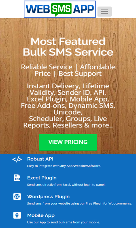 WEBSMS APP- screenshot
