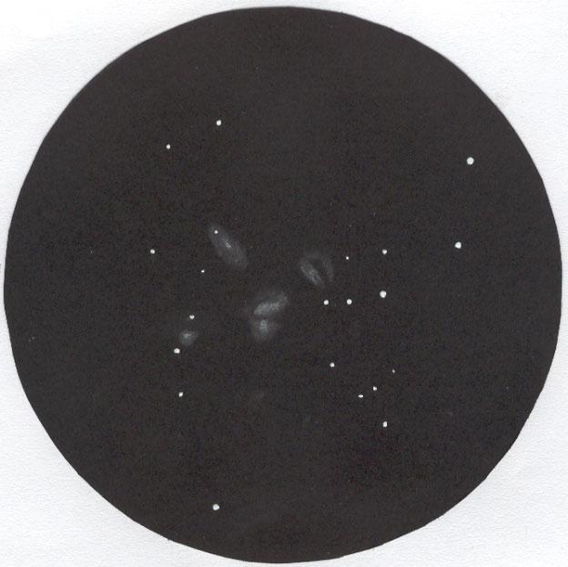 Photo: Le quintette de Stephan, au T406 à 250X. Le 15 septembre 2007. Sur la galaxie de droite, le bras représenté a été perçu par de courts instants.