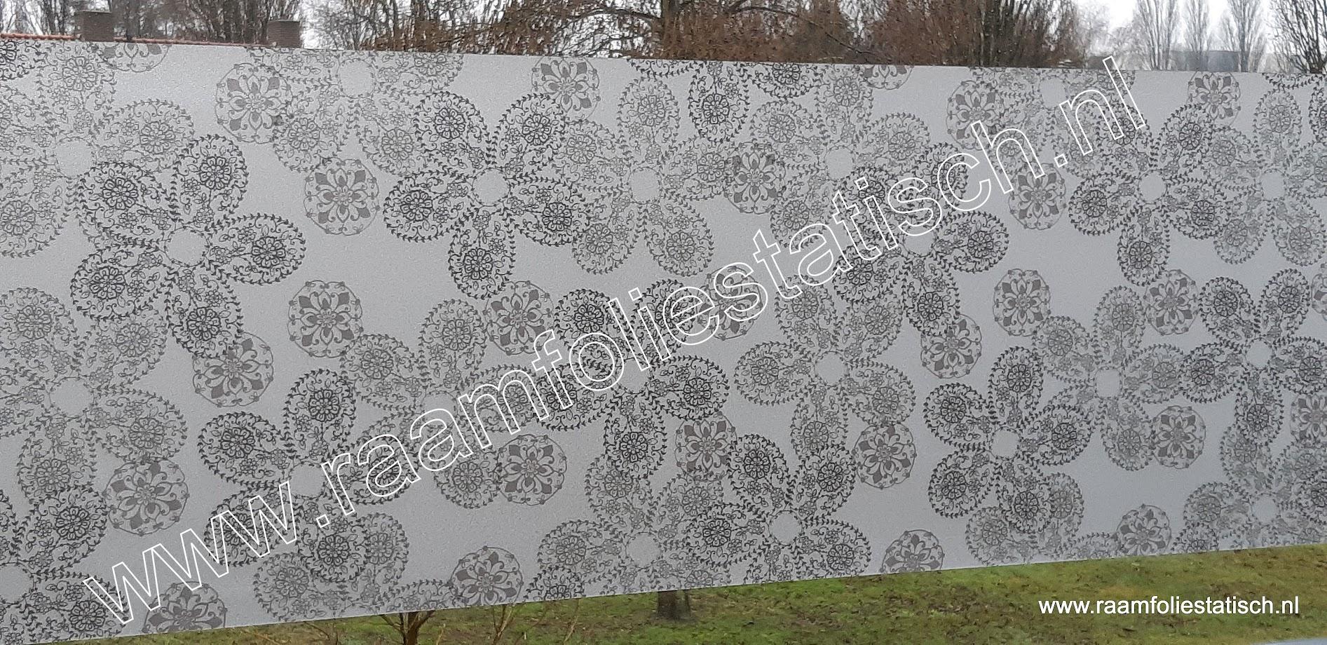 Vitrostatic brilliant gekkofix statische raamfolie bloemmotief zwart / taupe