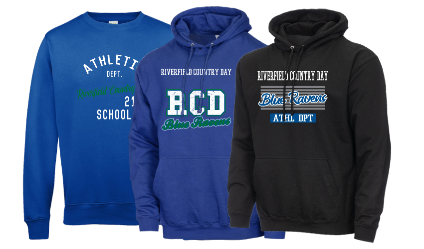 Black and blue 1st Place Spiritwear hoodies and crewnecks, featuring Riverfield Country Day School from Oklahoma