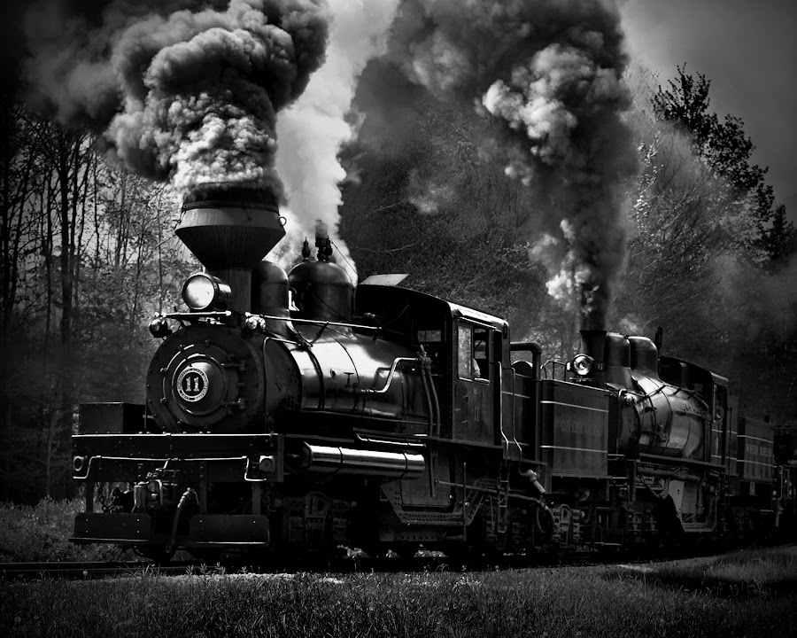 Stoked by Chuck  Gordon  - Transportation Trains ( black and white, train, steam )